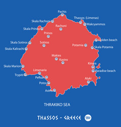 island of thassos in greece red map vector image vector image