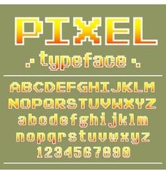 Pixel font 8 bit typeface for retro games design vector image