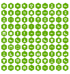 100 fashion icons hexagon green vector image