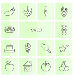 14 sweet icons vector image