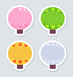4 stickers stylized as apple trees with symbols vector image