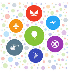 7 fly icons vector