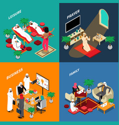 arab people lifestyle isometric design concept vector image