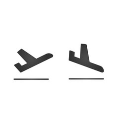 Arrivals and departure plane icons simple black vector