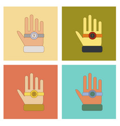 Assembly flat icons kids toy bracelet hand vector
