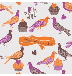 Birds and cupcake love vector