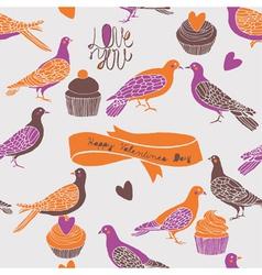 Birds and cupcake love vector