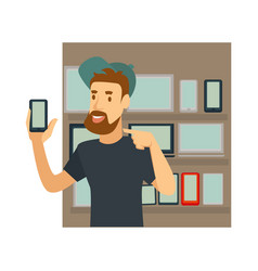 Blogger or vlogger man character for smart vector