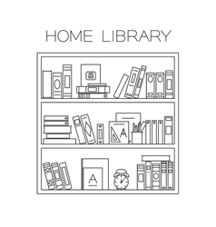 Bookshelf thin line vector