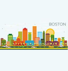 Boston skyline with color buildings and blue sky vector