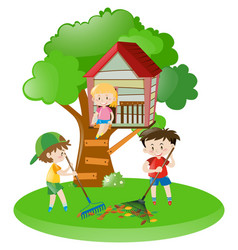 Boys raking leaves and girl on treehouse vector