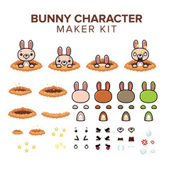 Bunny character kit vector