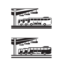 Buses arranged for departure from station vector