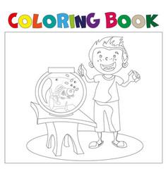 child looking at an aquarium coloring book vector image
