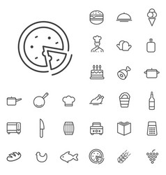 cooking outline thin flat digital icon set vector image