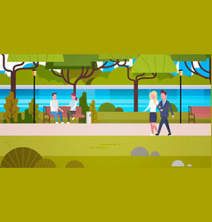 couple of business people outdoors walking in vector image