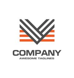 creative letter v line logo design template vector image