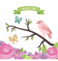 cute bird butterflies in branch flowers decoration vector image
