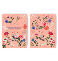 cute sweet red pink and blue wild floral flower vector image