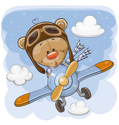 Cute teddy bear is flying on a plane vector