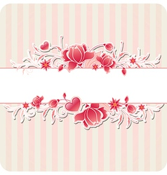 Decorative background with red flowers vector image