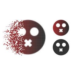 Dissolving pixelated halftone mute smiley icon vector