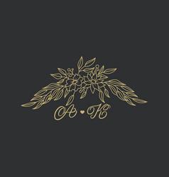 elegant floral logo wedding logo design vector image