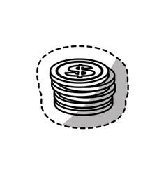Figure coins dolar currency organized vector