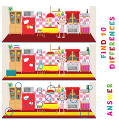find ten differences learning game for kids vector image
