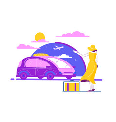 flat beautiful young woman with luggage summer vector image