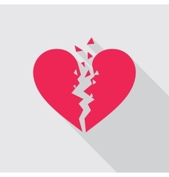 Flat icon of Broken heart in red color vector