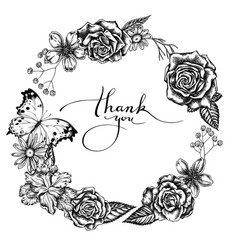 Floral wreath black and white iris japonica vector