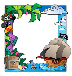 Frame with sea and pirate theme 4 vector