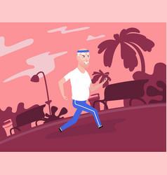 Gray-haired grandpa at sportswear running at park vector