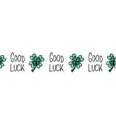 green four-leaf good luck clover seamless vector image