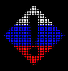 halftone russian warning icon vector image