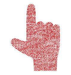 hand pointer up fabric textured icon vector image