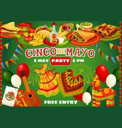 happy cinco de mayo mexican party food and flags vector image