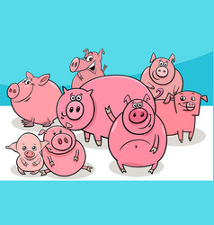 Happy pigs farm animal cartoon characters vector
