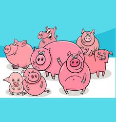 happy pigs farm animal cartoon characters vector image