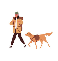 hiker with backpack traveling together with dog vector image