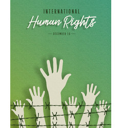 Human rights month card of people hands vector