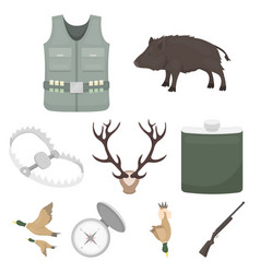 Hunting set icons in cartoon style big collection vector