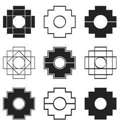 Icons set with inca cross chakana vector