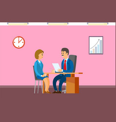 job interview with boss hiring new office worker vector image