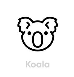 koala face icon editable line on vector image