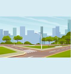 landscape urban city park with roaway roads vector image