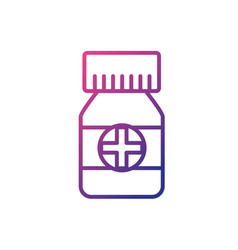 line bottle pills to medical treatment vector image