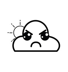 line kawaii cute angry cloud and sun vector image