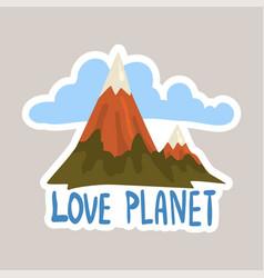 love planet tagline sticker cartoon vector image